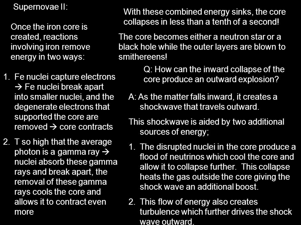 Supernovae II: With these combined energy sinks, the core collapses in less than a tenth of a second!