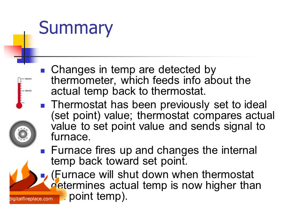 Summary Changes in temp are detected by thermometer, which feeds info about the actual temp back to thermostat.