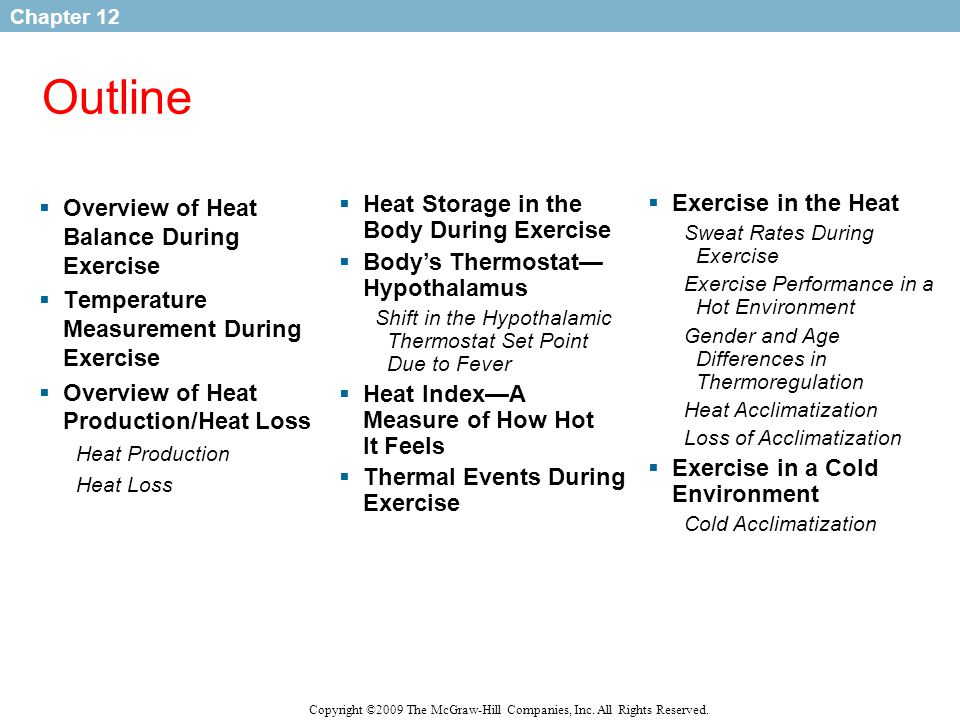 Outline Overview of Heat Balance During Exercise