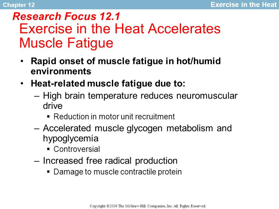 Research Focus 12.1 Exercise in the Heat Accelerates Muscle Fatigue