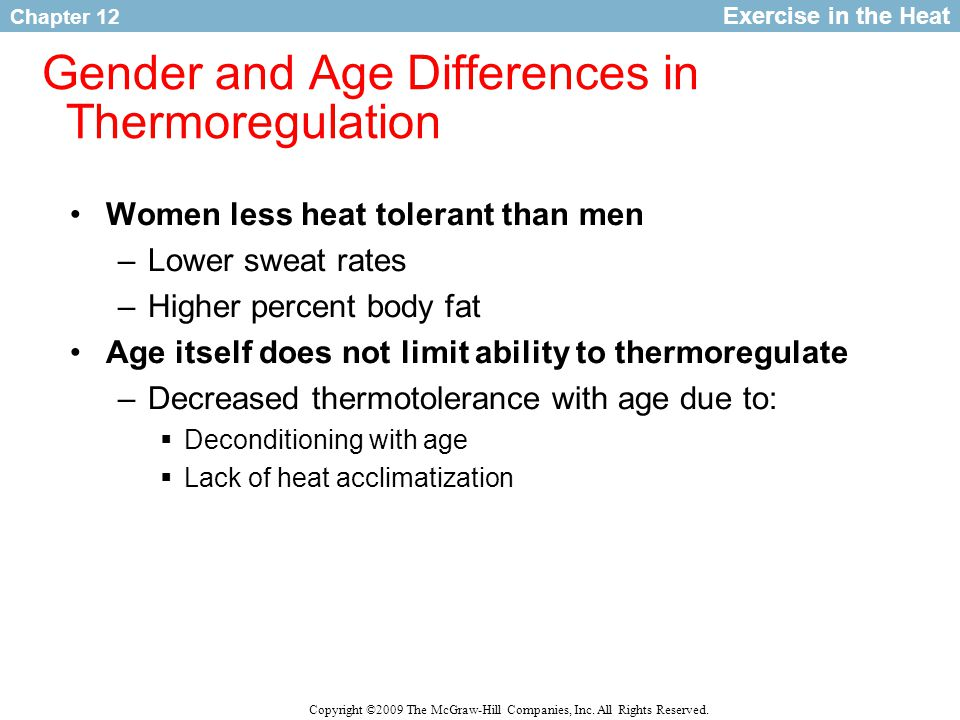 Gender and Age Differences in Thermoregulation