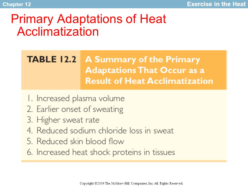 Primary Adaptations of Heat Acclimatization