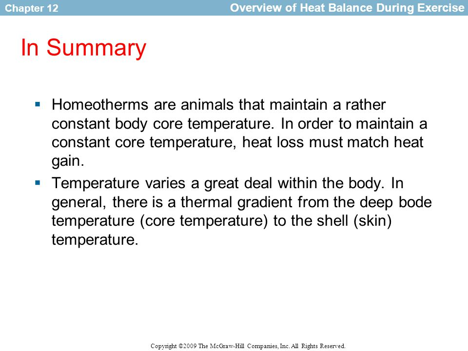 Overview of Heat Balance During Exercise
