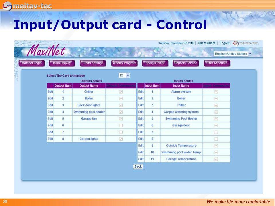 Input/Output card - Control