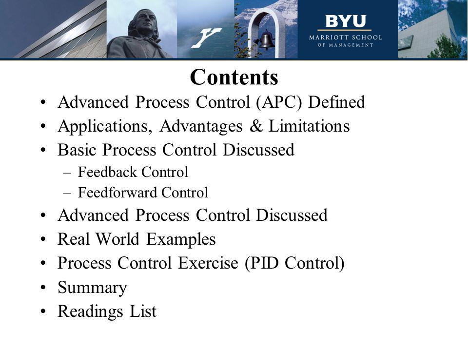 Contents Advanced Process Control (APC) Defined