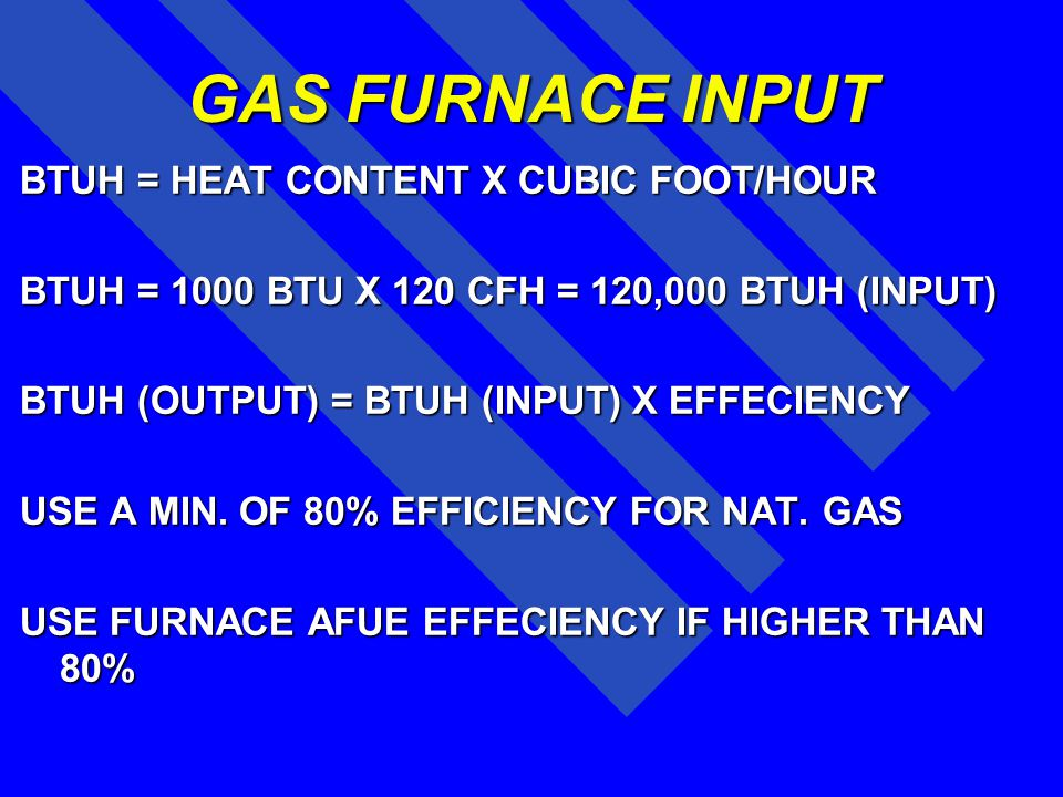 GAS FURNACE INPUT BTUH = HEAT CONTENT X CUBIC FOOT/HOUR