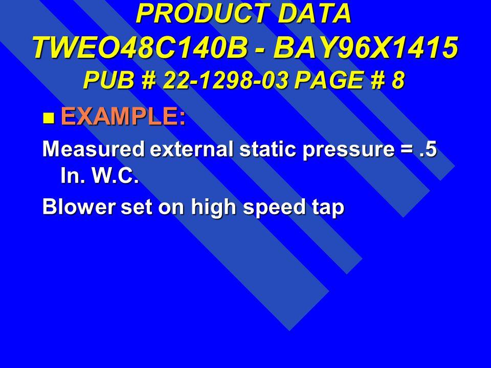 PRODUCT DATA TWEO48C140B - BAY96X1415 PUB # 22-1298-03 PAGE # 8