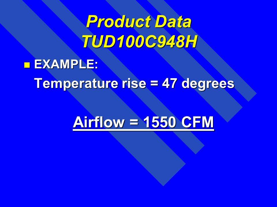 Product Data TUD100C948H Airflow = 1550 CFM EXAMPLE:
