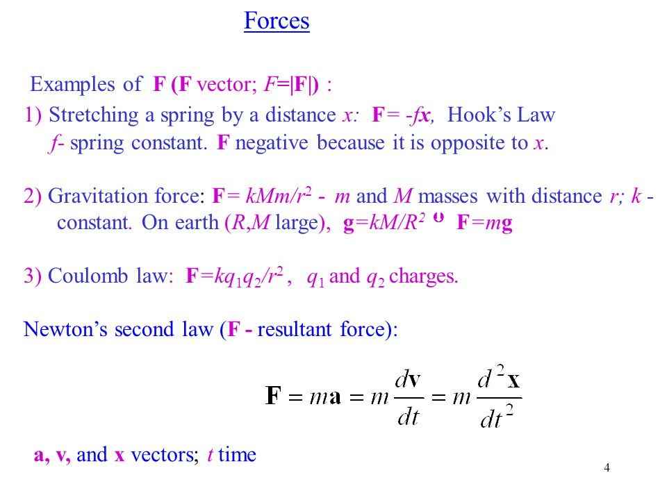 Examples of F (F vector; F=|F|) :