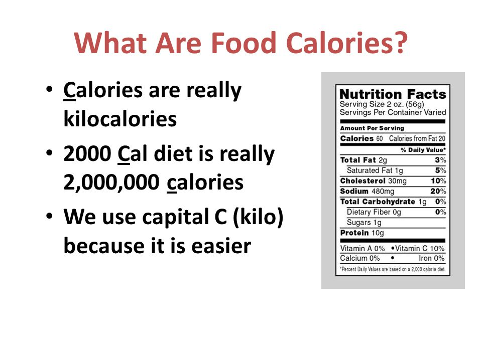 What Are Food Calories Calories are really kilocalories