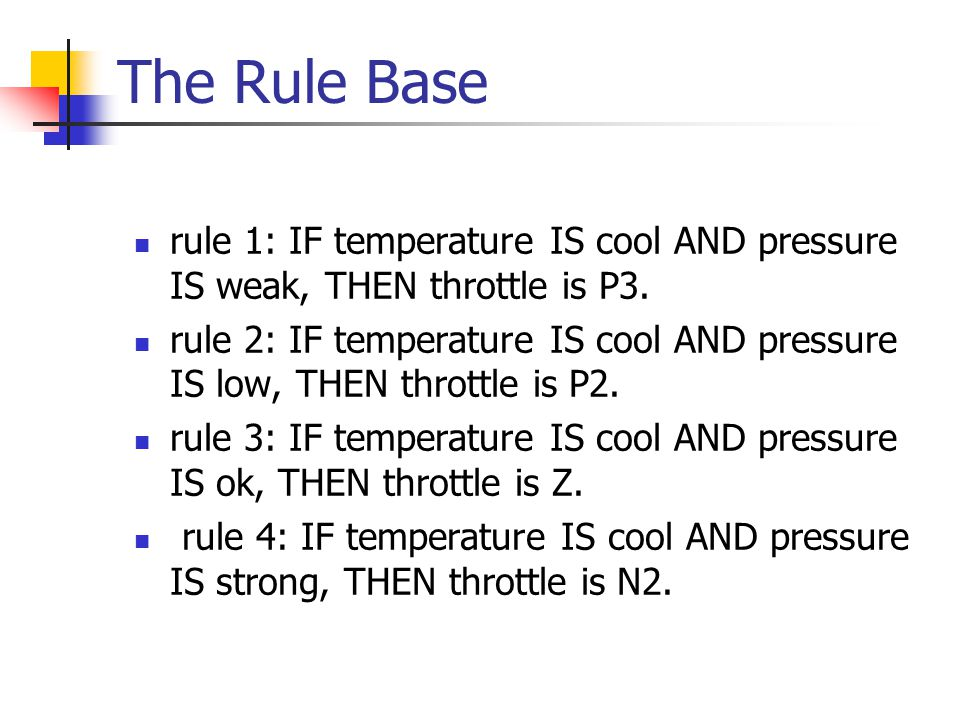 The Rule Base rule 1: IF temperature IS cool AND pressure IS weak, THEN throttle is P3.