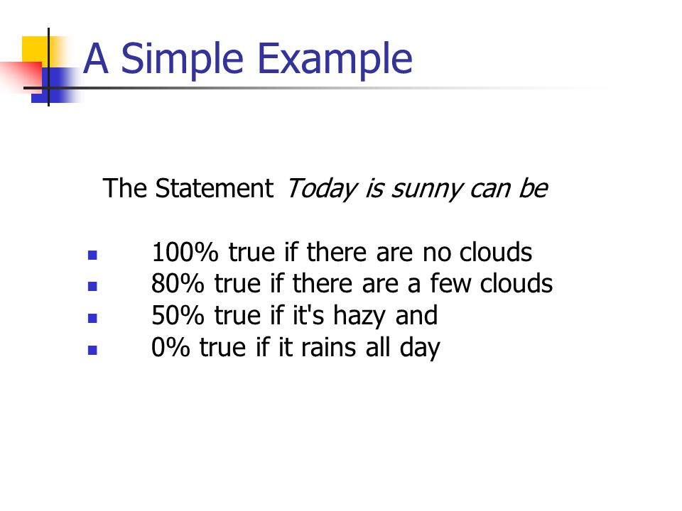 A Simple Example The Statement Today is sunny can be