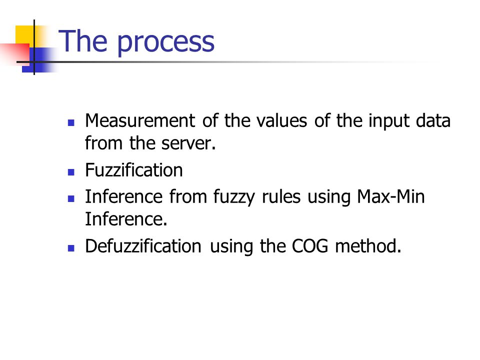 The process Measurement of the values of the input data from the server. Fuzzification. Inference from fuzzy rules using Max-Min Inference.