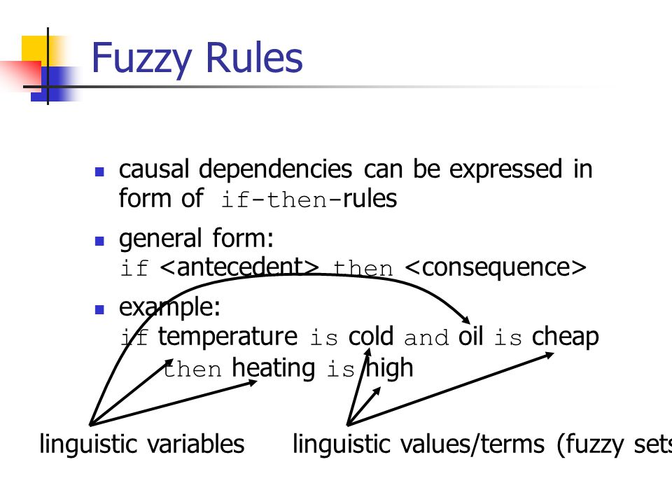 Fuzzy Rules causal dependencies can be expressed in form of if-then-rules. general form: if <antecedent> then <consequence>
