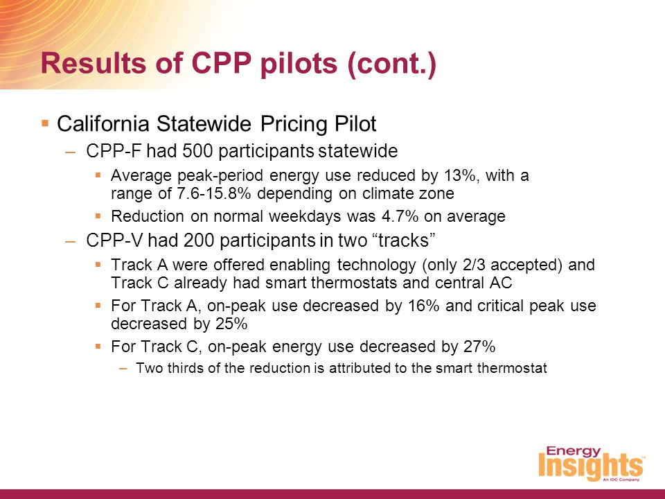 Results of CPP pilots (cont.)