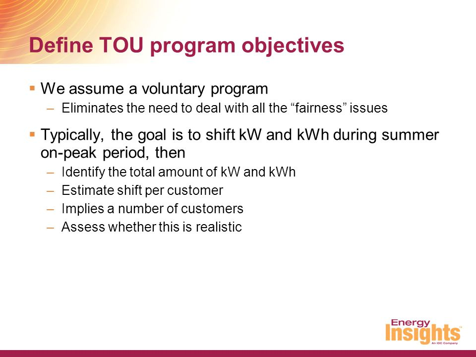 Define TOU program objectives