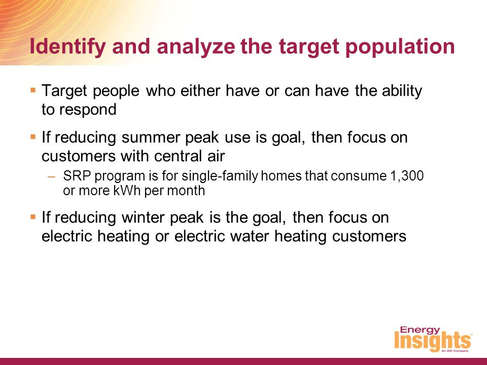 Identify and analyze the target population