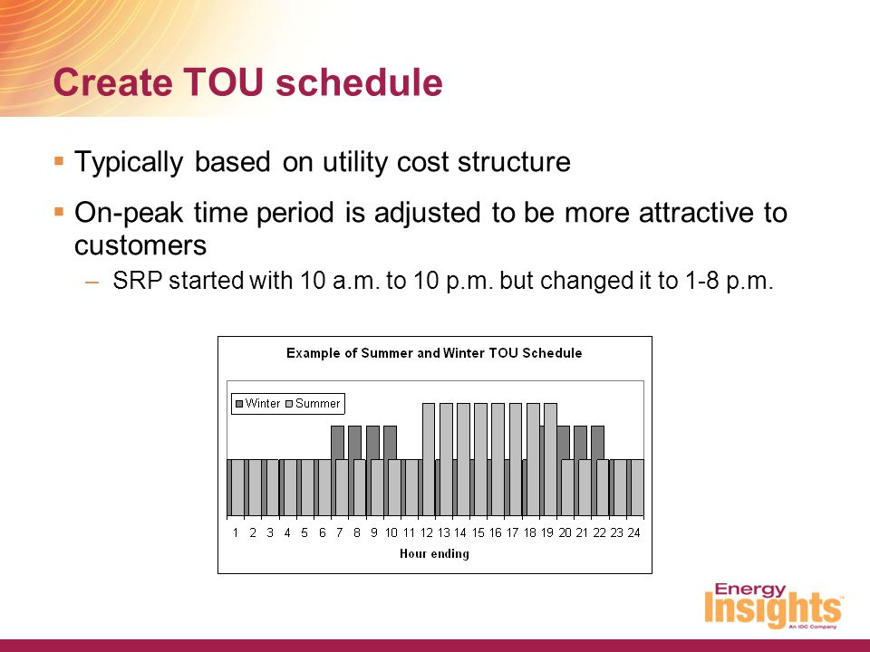 Create TOU schedule Typically based on utility cost structure