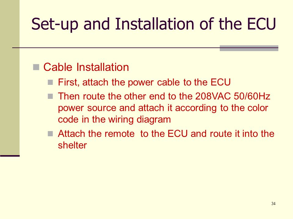 Set-up and Installation of the ECU