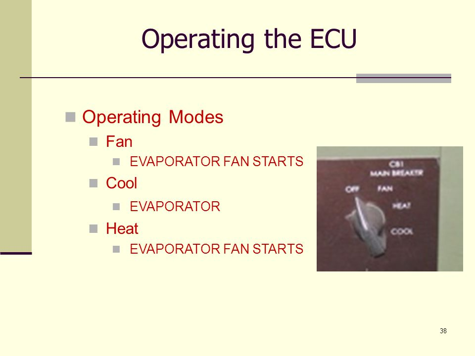 Operating the ECU Operating Modes Fan Cool Heat EVAPORATOR FAN STARTS