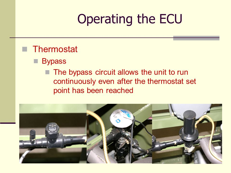 Operating the ECU Thermostat Bypass