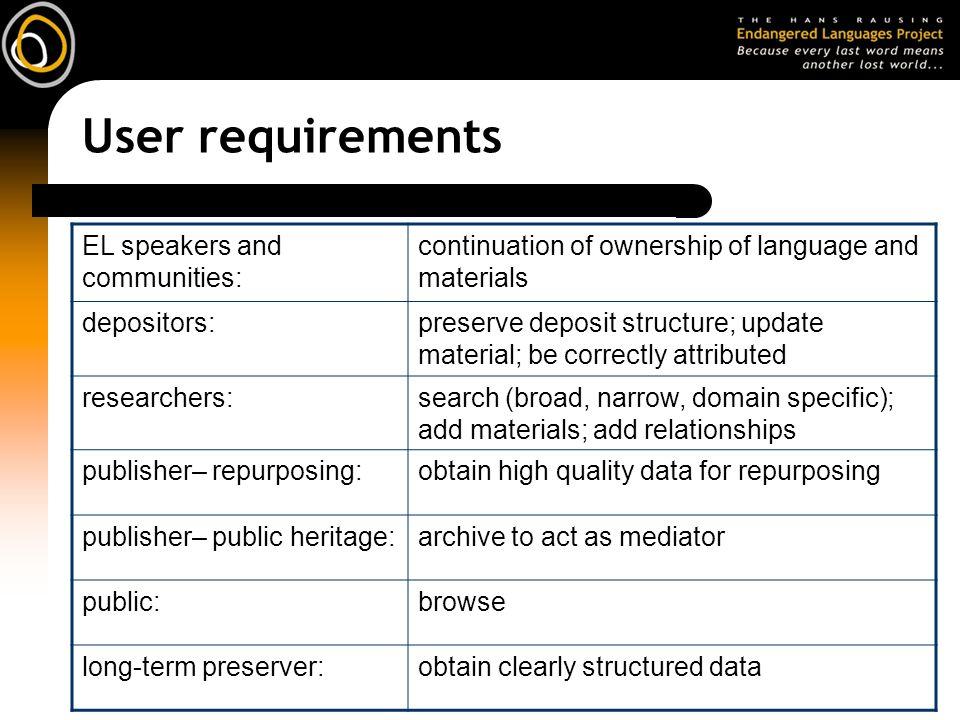 User requirements EL speakers and communities: