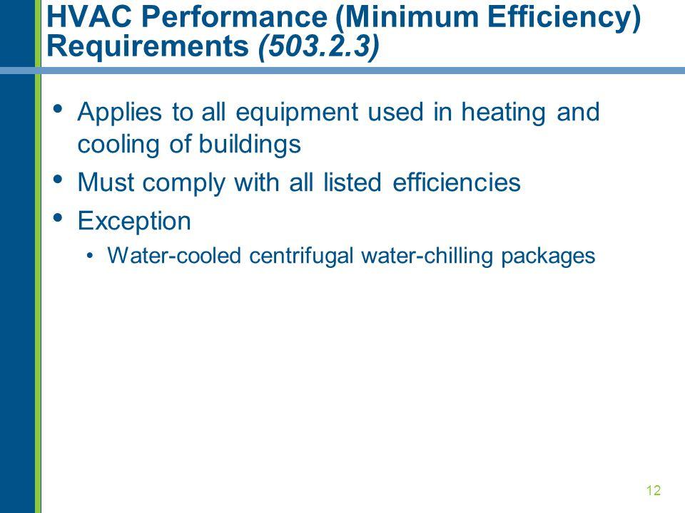 HVAC Performance (Minimum Efficiency) Requirements (503.2.3)