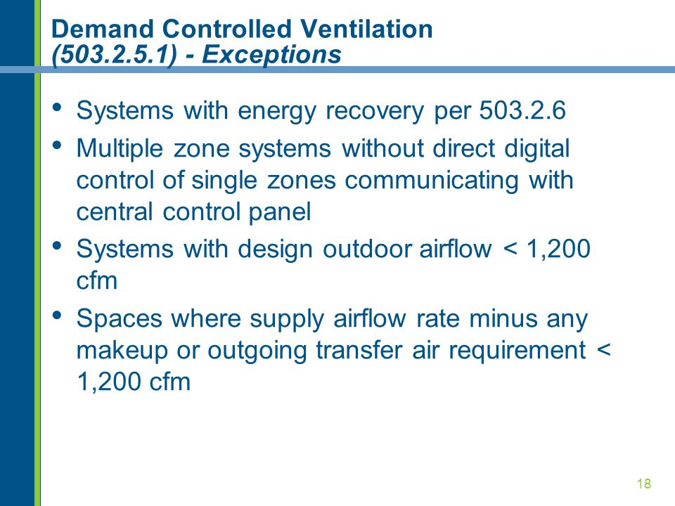 Demand Controlled Ventilation (503.2.5.1) - Exceptions