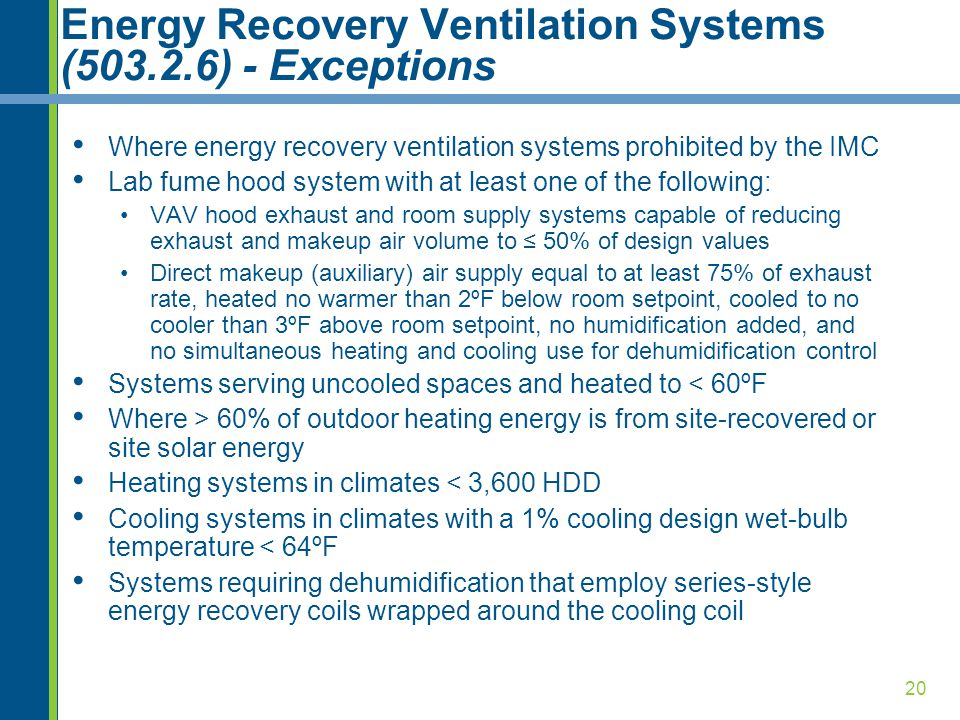 Energy Recovery Ventilation Systems (503.2.6) - Exceptions