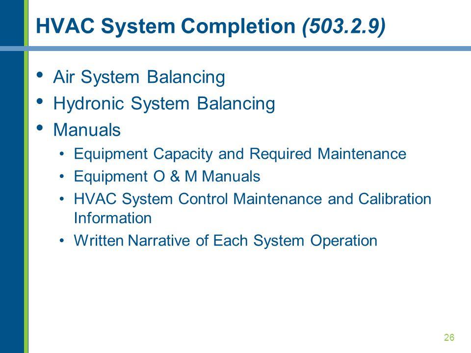 HVAC System Completion (503.2.9)