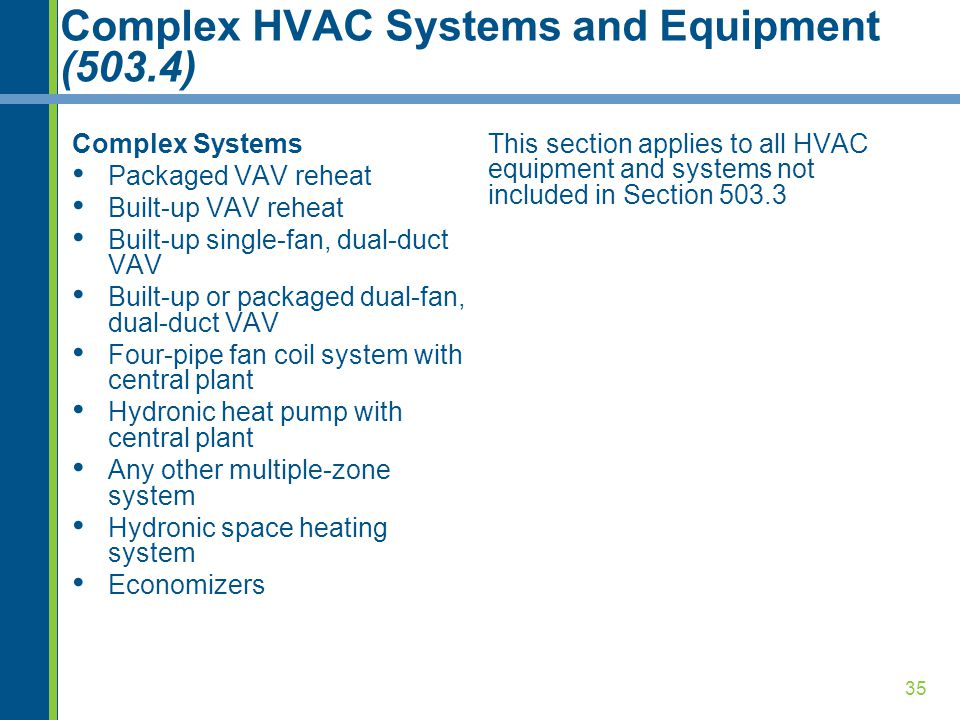 Complex HVAC Systems and Equipment (503.4)