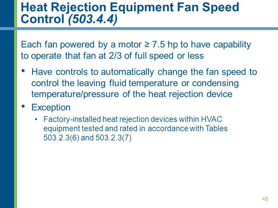 Heat Rejection Equipment Fan Speed Control (503.4.4)