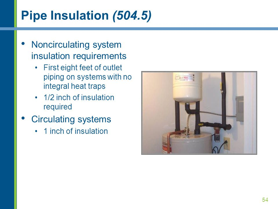 Pipe Insulation (504.5) Noncirculating system insulation requirements