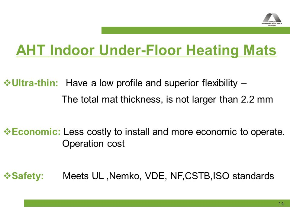 AHT Indoor Under-Floor Heating Mats