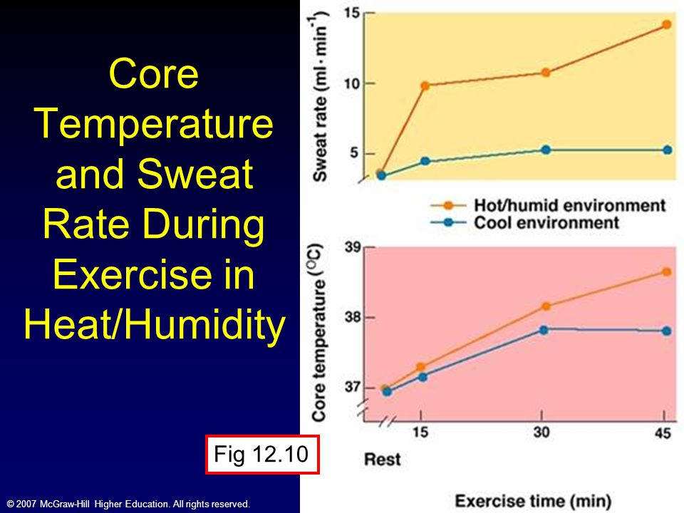 Core Temperature and Sweat Rate During Exercise in Heat/Humidity