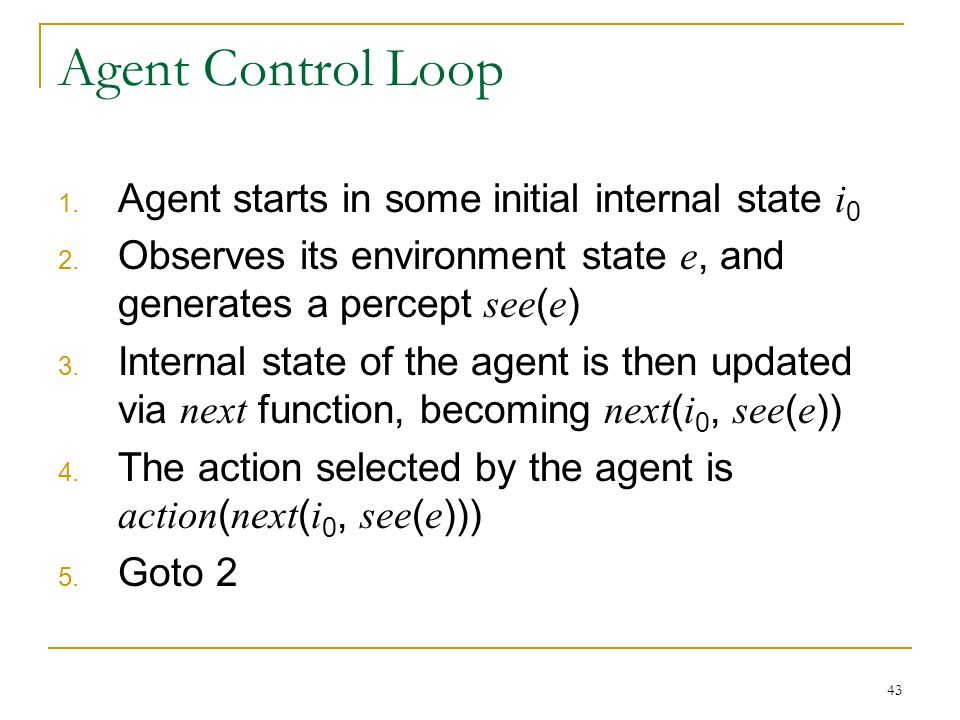 Agent Control Loop Agent starts in some initial internal state i0
