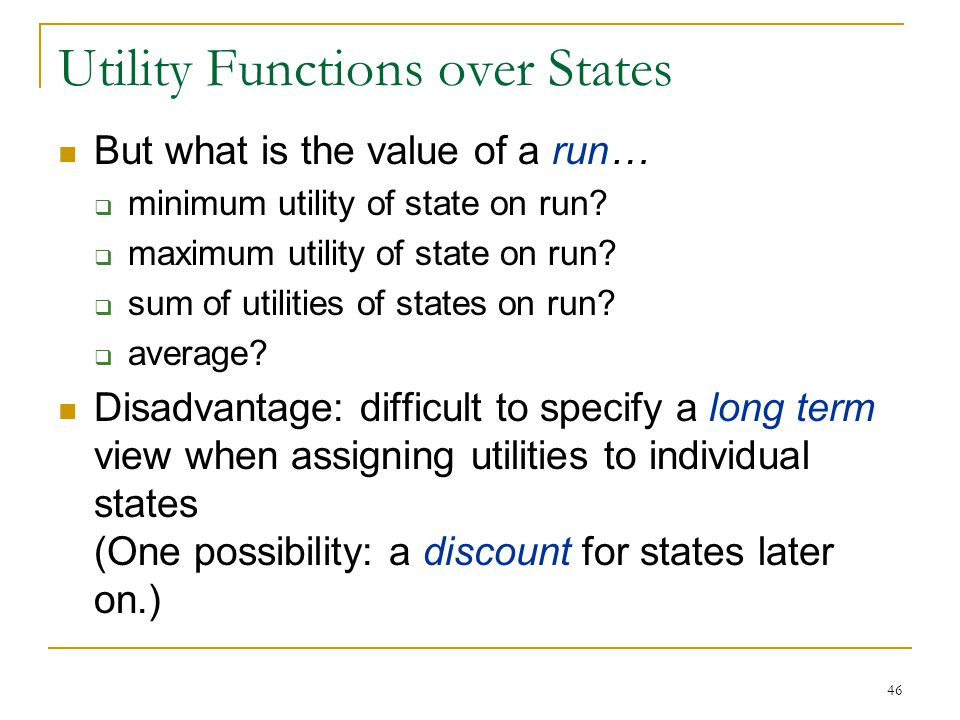Utility Functions over States