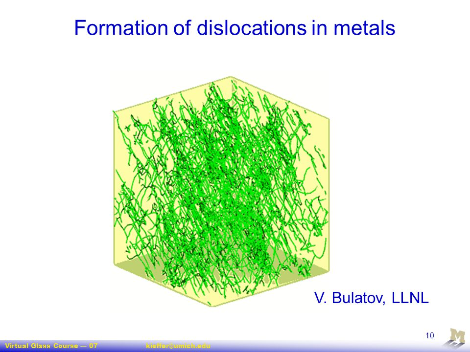 Formation of dislocations in metals