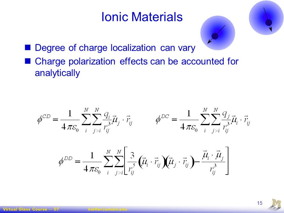 Ionic Materials Degree of charge localization can vary