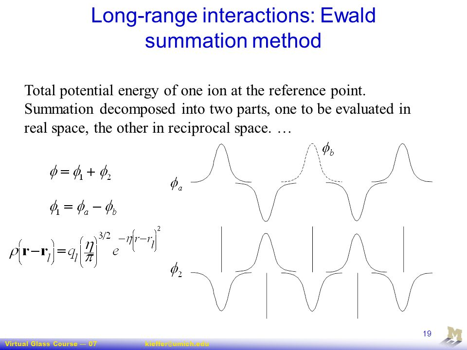 Long-range interactions: Ewald summation method