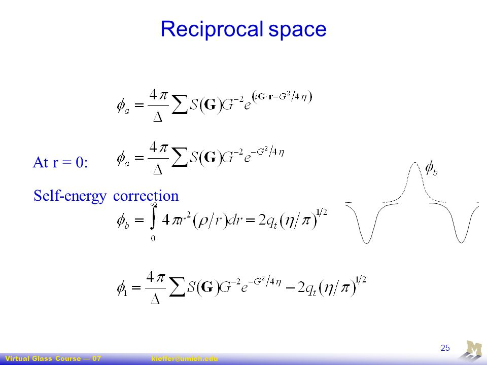 Reciprocal space At r = 0: Self-energy correction