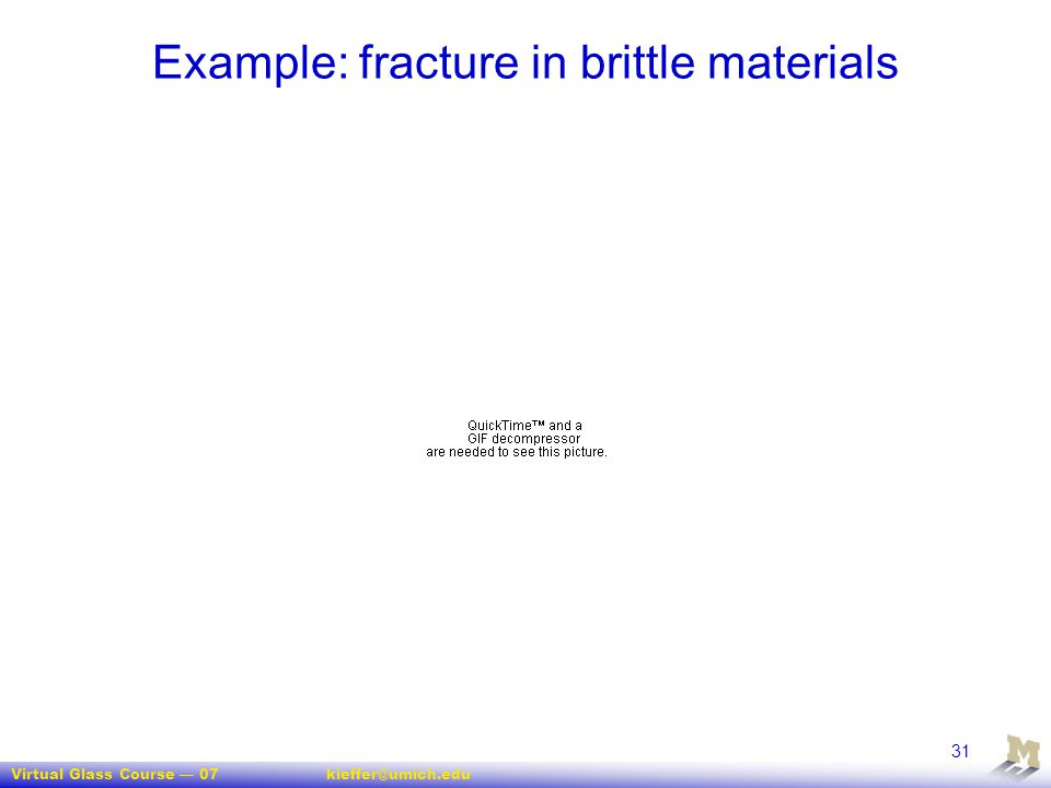 Example: fracture in brittle materials