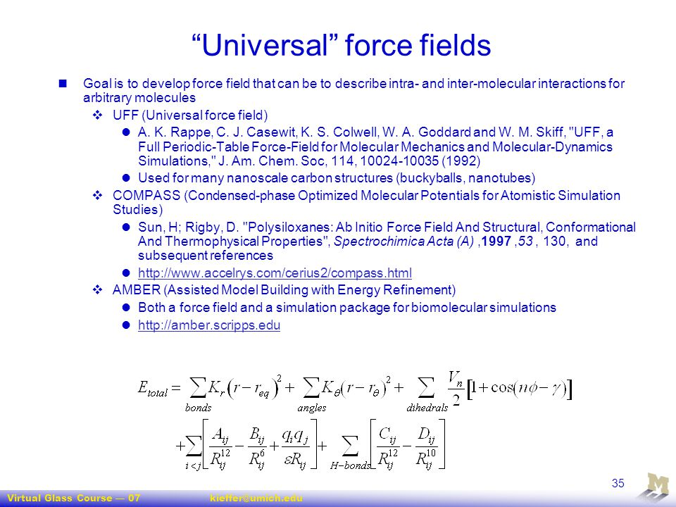 Universal force fields