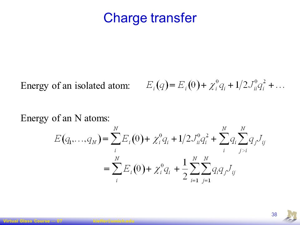 Charge transfer Energy of an isolated atom: Energy of an N atoms: