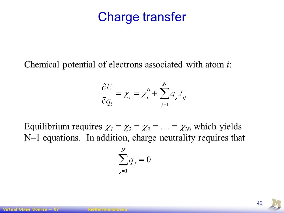 Charge transfer Chemical potential of electrons associated with atom i: