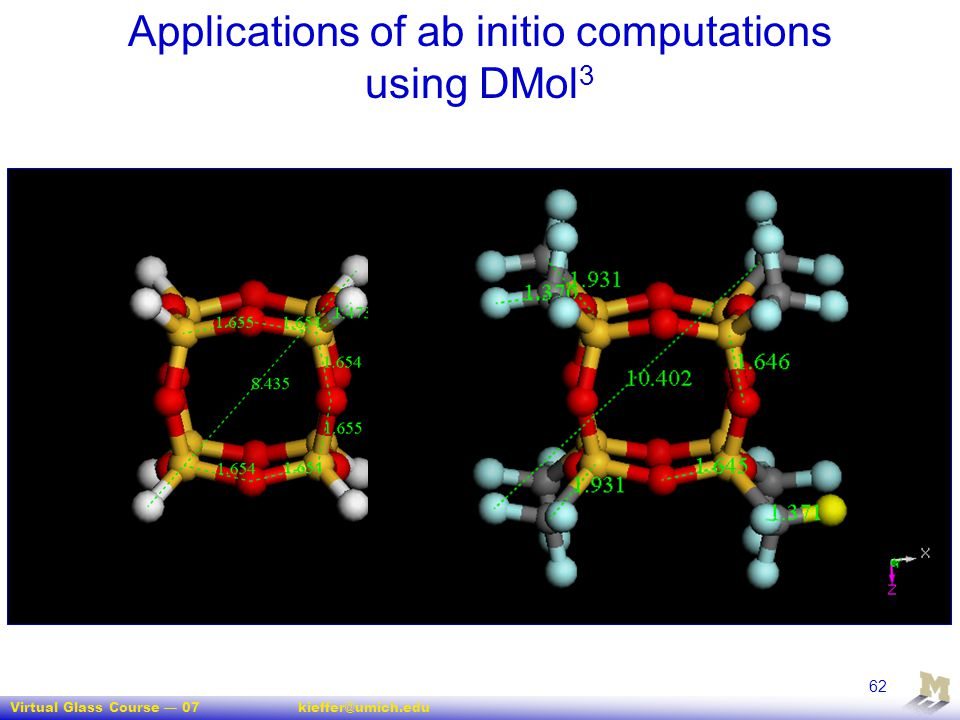 Applications of ab initio computations using DMol3