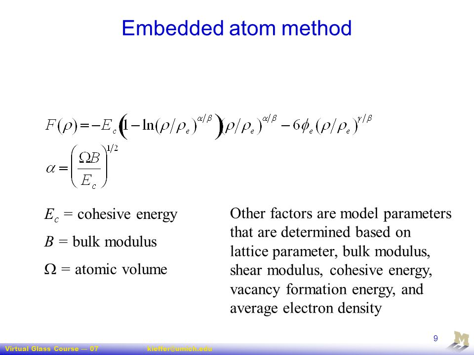 Embedded atom method Ec = cohesive energy