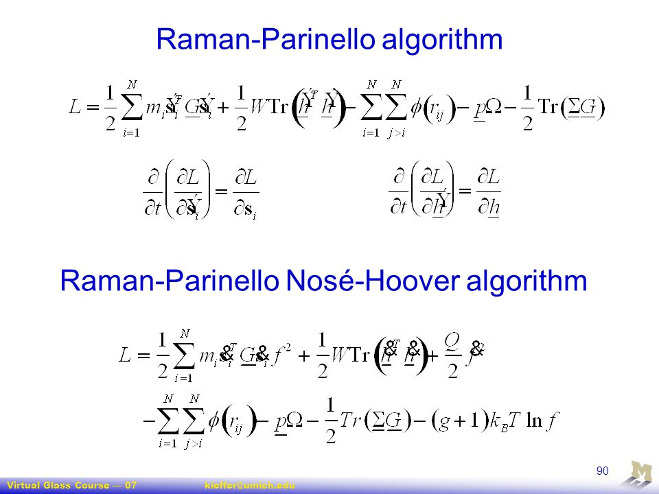 Raman-Parinello algorithm