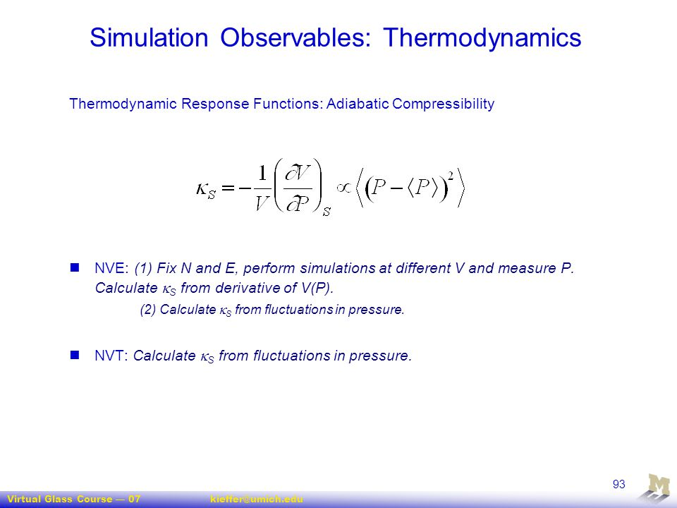 Simulation Observables: Thermodynamics