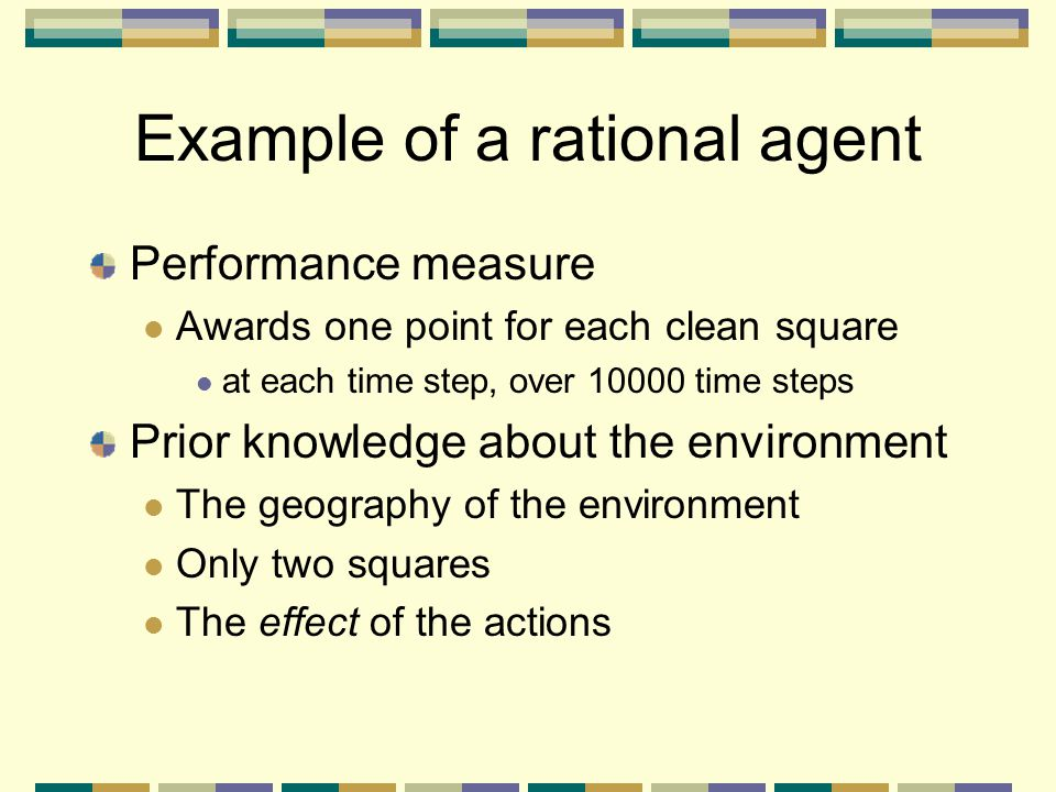 Example of a rational agent